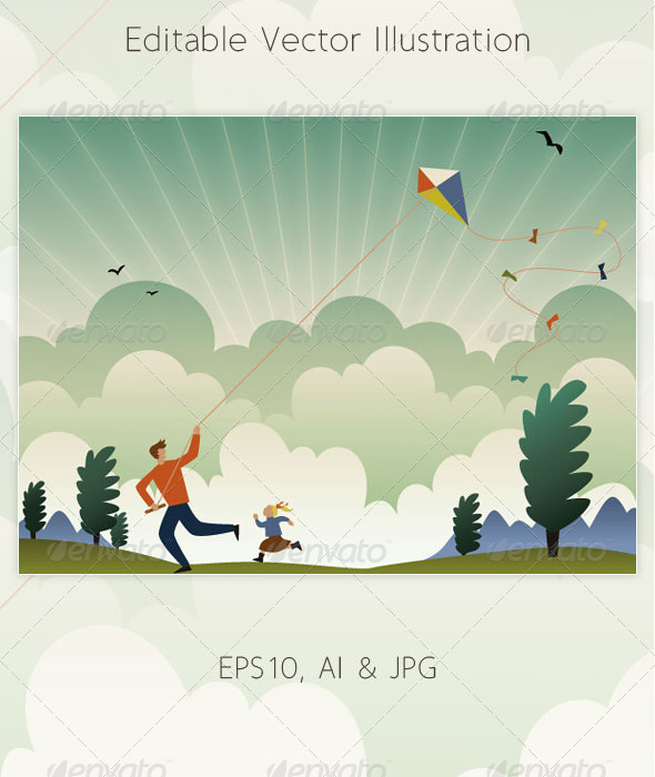 GraphicRiver Kite Flying 4191839