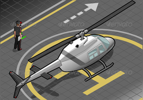 GraphicRiver Isometric White Helicopter Landed 4198450