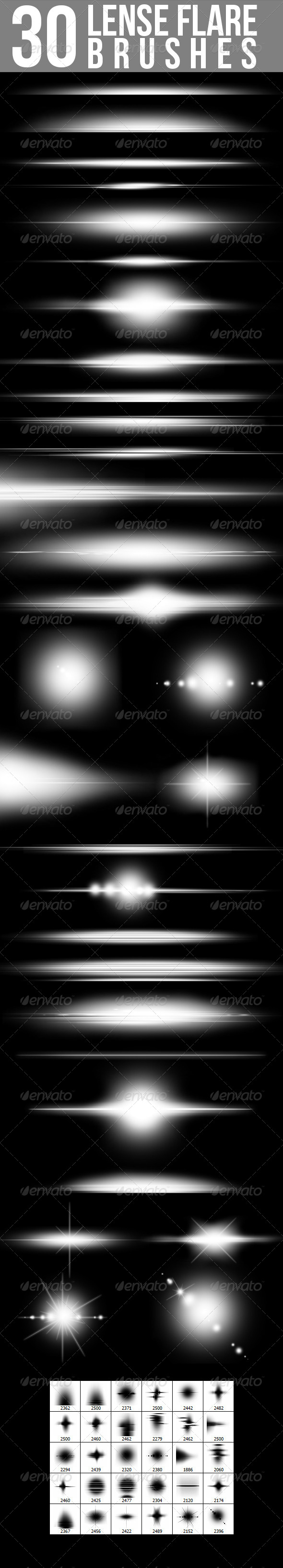30 Lense Flare Brushes - GraphicRiver Item for Sale