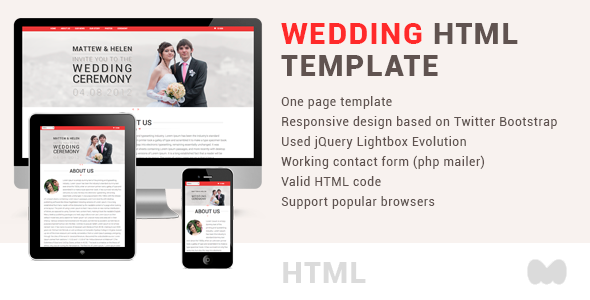 Wedding one page html template