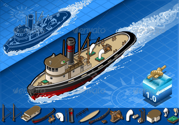 GraphicRiver Isometric Old Tugboat in Navigation 4199082