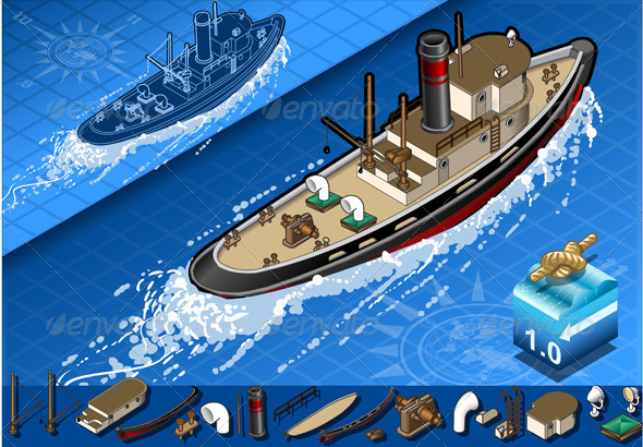 GraphicRiver Isometric Old Tugboat in Navigation 4199091