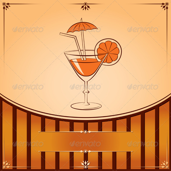 Vector Cocktail Glass with Orange