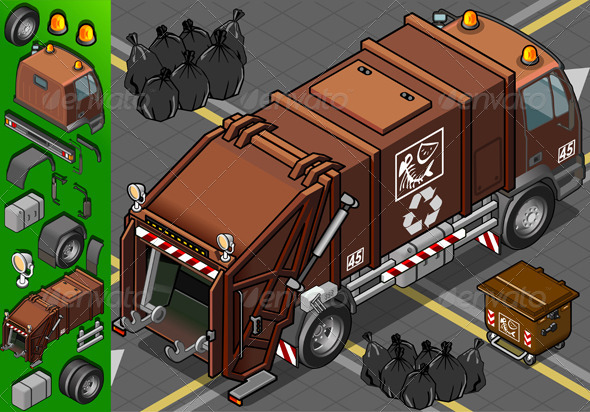 GraphicRiver Isometric Humid Waste Garbage Truck 4199639