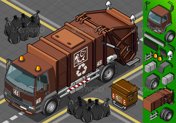 GraphicRiver Isometric Humid Waste Garbage Truck 4199641