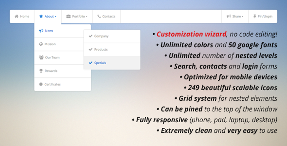 Pure CSS3 Mega Menu - CodeCanyon Item for Sale