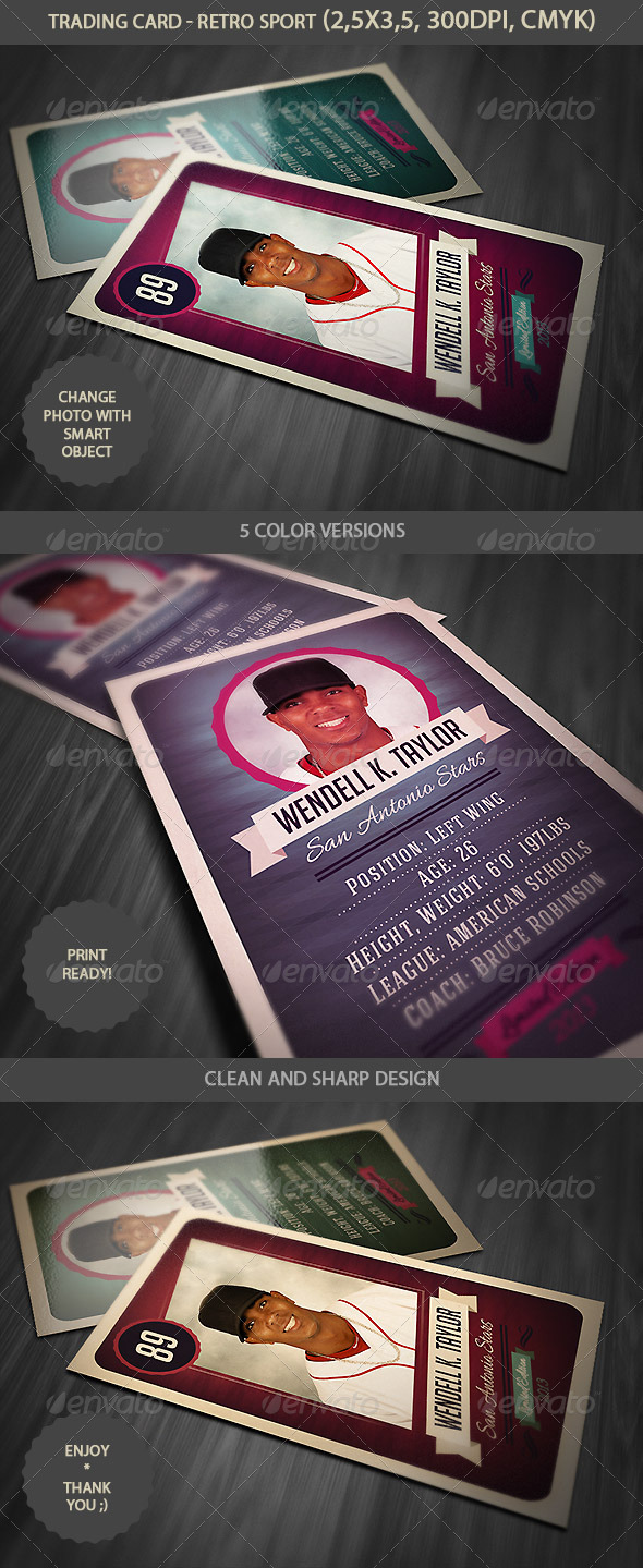 Trading Card - Retro Style - Miscellaneous Print Templates