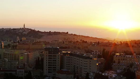 Sunrise above Old City Jerusalem 2