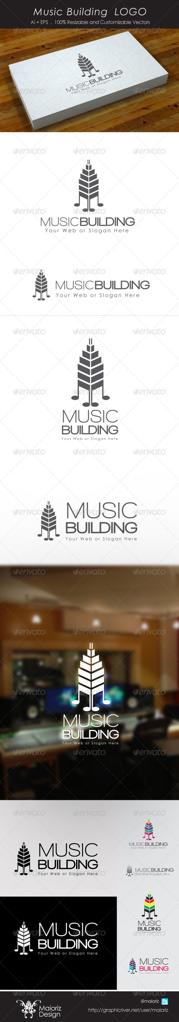 Music Building Logo - Buildings Logo Templates