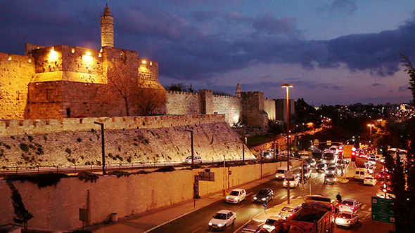 Jerusalem Israel Old City Wall at Night 2