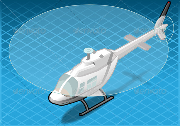GraphicRiver Isometric White Helicopter in Flight in Front View 4200254