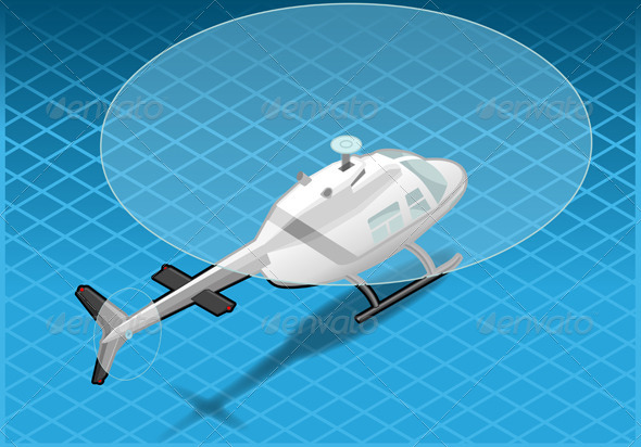 GraphicRiver Isometric White Helicopter in Flight in Rear View 4200258