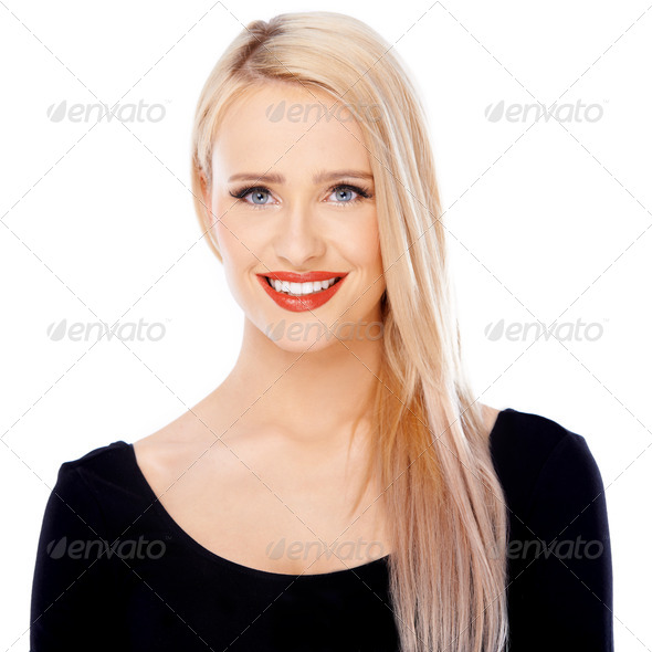 Beautiful blond woman portrait over white - Stock Photo - Images