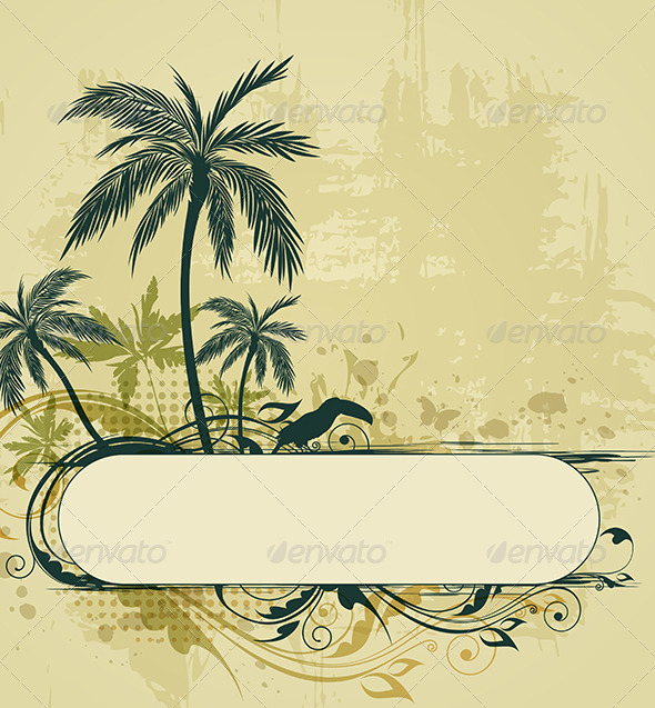 GraphicRiver Grunge Tropical Background 4200516