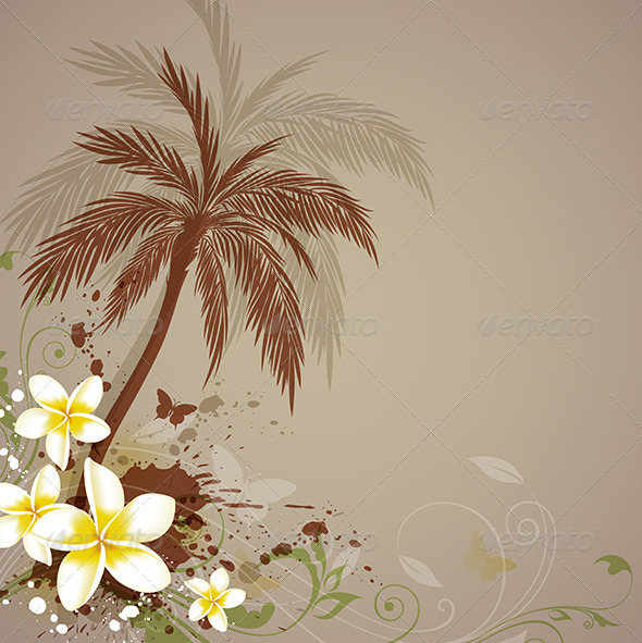 GraphicRiver Background with Flowers and Palm 4200886