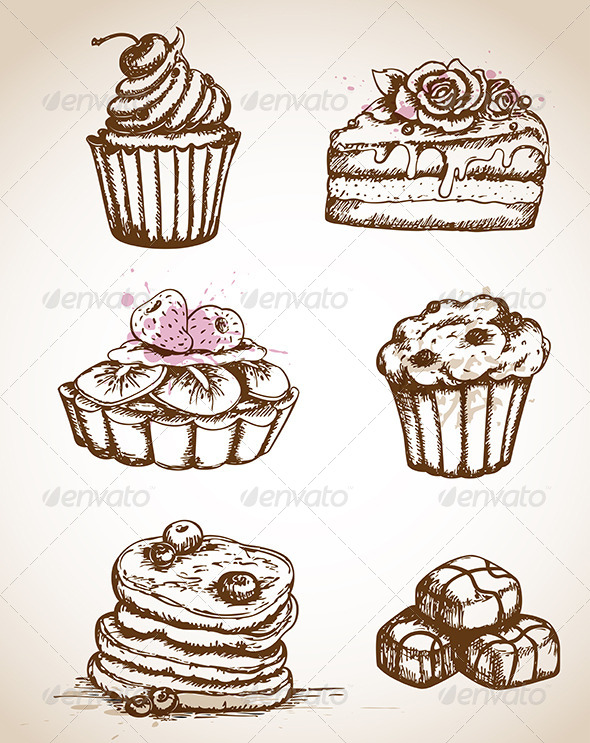 GraphicRiver Vintage Hand Drawn Cakes 4201156