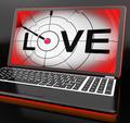 Love On Laptop Shows Romance
