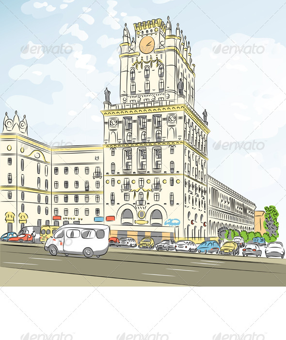 GraphicRiver Vector Color Sketch of a City-Center 4202112