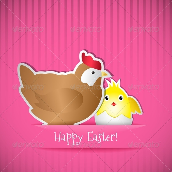 GraphicRiver Easter Card With Chicken And Chick 4202756