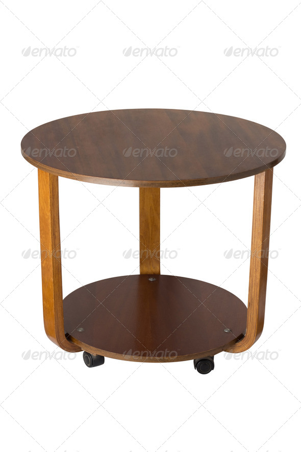PhotoDune wooden round table over white background 4253973
