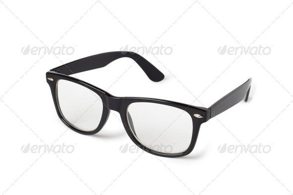 PhotoDune Photo of black nerd glasses isolated on white 4253977