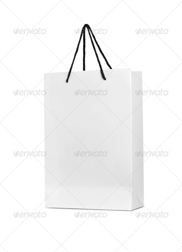 PhotoDune a white shopping bag on a white background 4253982