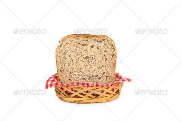 PhotoDune Basket with bread isolated on white 4253988
