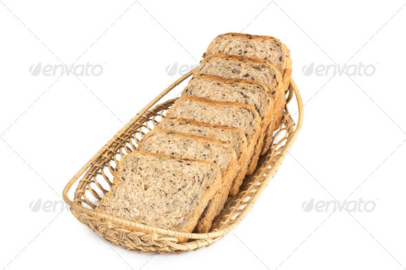 PhotoDune Basket with bread isolated on white 4254025
