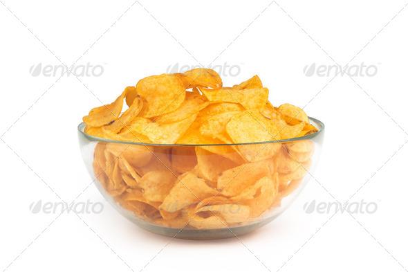 PhotoDune Bowl of potato chips isolated on white background 4254028