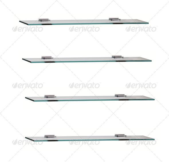 PhotoDune glass shelfs on white background 4254038