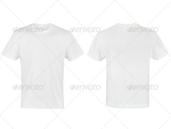 two white T-shirt isolated on white background - Stock Photo - Images