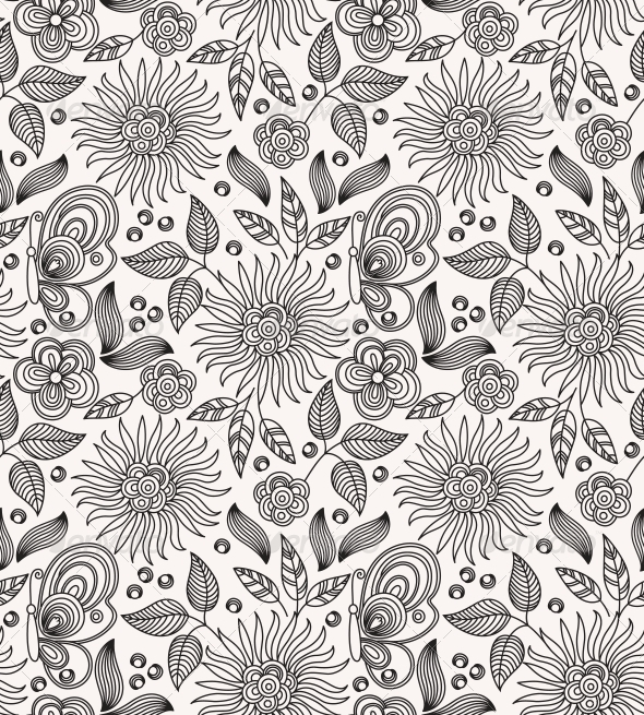 GraphicRiver Decorative Flower Seamless Background 4203023