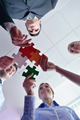 Group of business people assembling jigsaw puzzle - PhotoDune Item for Sale