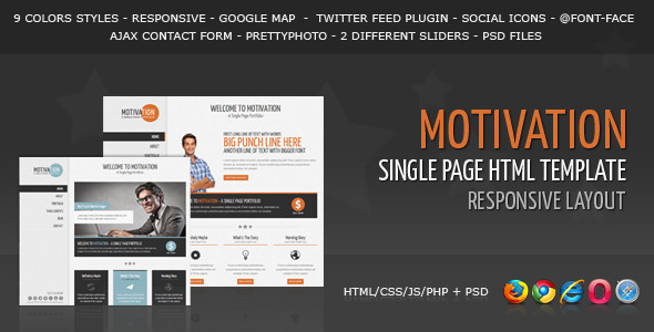ThemeForest Motivation Responsive Single Page HTML Template 4204066