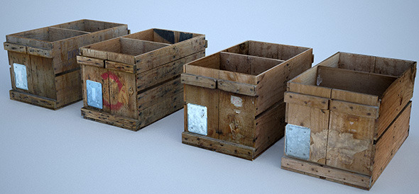 3DOcean 4 Vintage Wooden Crates 4204114