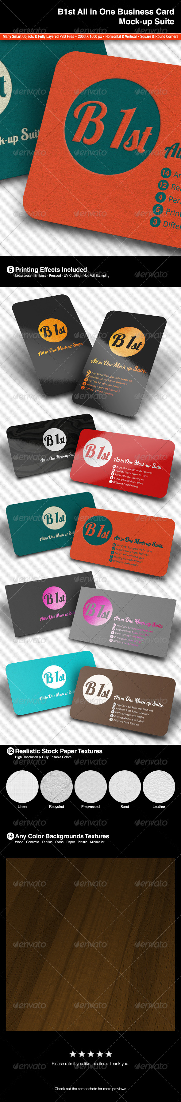 All In One Business Card Mock-Up - Print Product Mock-Ups