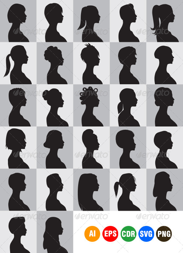 GraphicRiver Women Hairstyle Silhouettes 4205395
