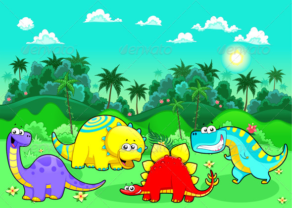 GraphicRiver Funny Dinosaurs in the Forest 4206863