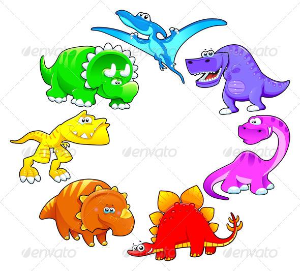 GraphicRiver Dinosaurs Rainbow 4207931