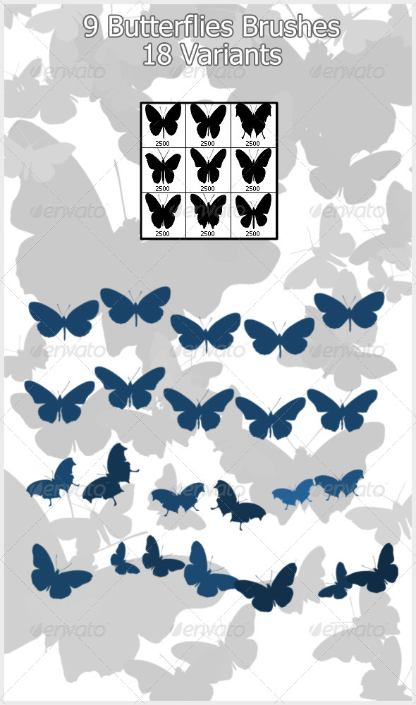 GraphicRiver 9 Butterflies Brushes 2500px 4208103