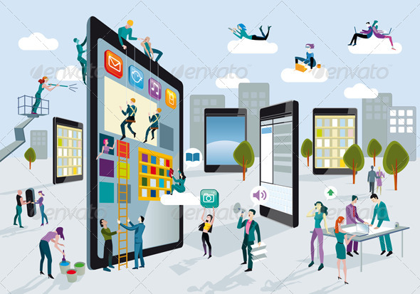 GraphicRiver Building Digital Tablets Horizontal 4208175