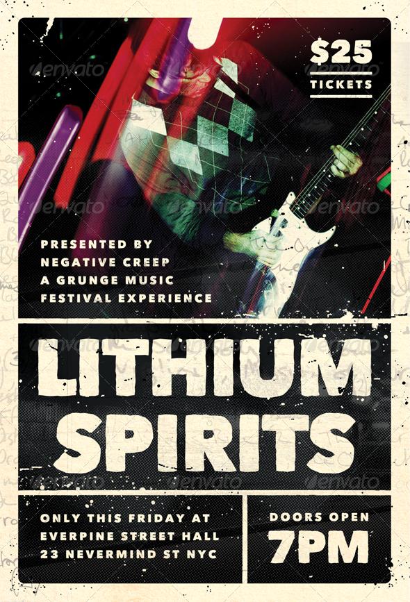 GraphicRiver Lithium Spirits Grunge Flyer Template 4208447