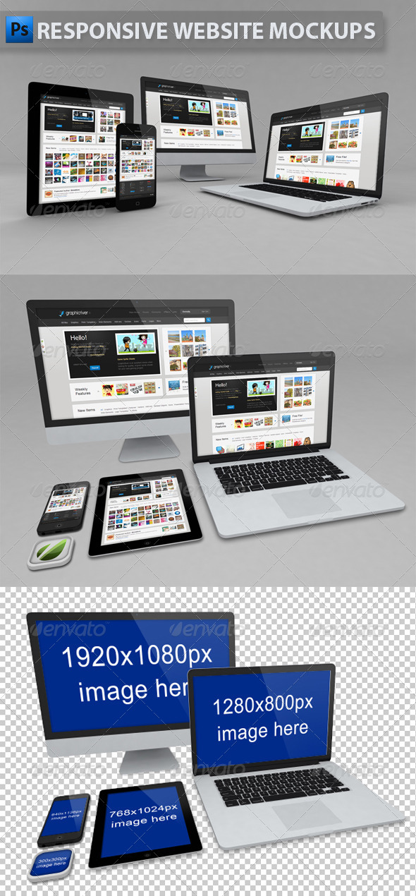 Responsive Website Mockups - Multiple Displays