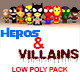 Low Poly Heros And Villians Pack - 3DOcean Item for Sale