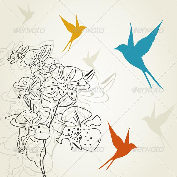 GraphicRiver Birds a Flower 2 4209569