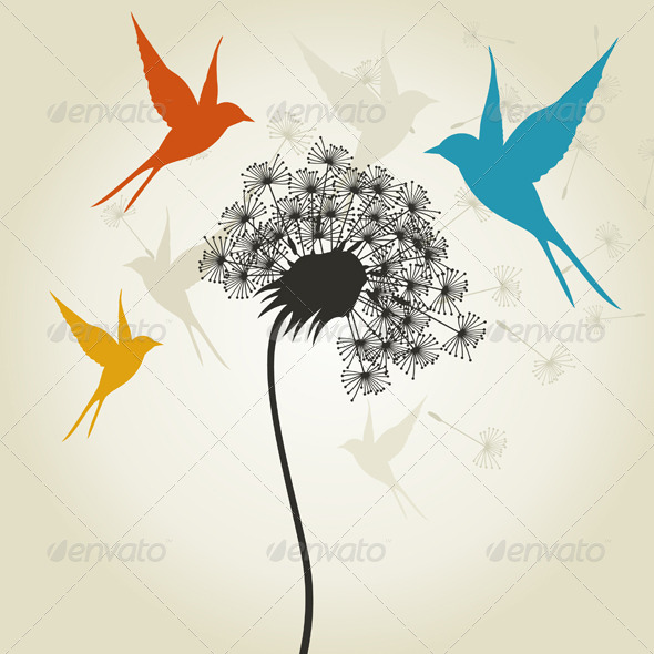 GraphicRiver Birds a Flower 3 4209613
