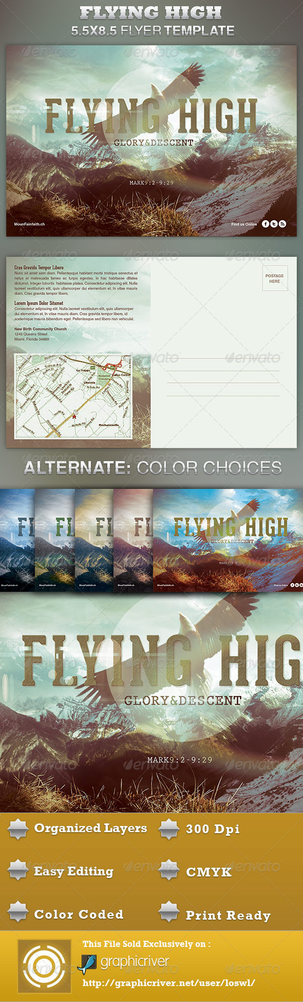 GraphicRiver Flying High Church Flyer Template 4211425