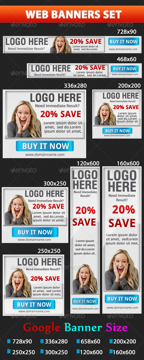 Web Banner Set - Banners & Ads Web Elements
