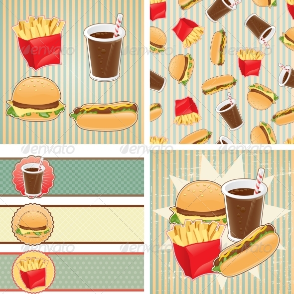 GraphicRiver Retro Backgrounds with Fast Food 4212356