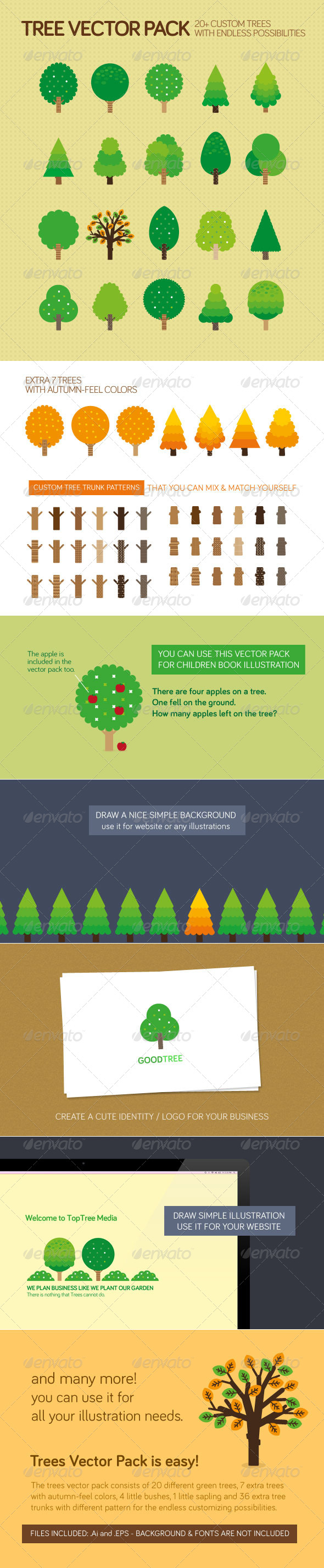 GraphicRiver Trees Vector Pack 4213351